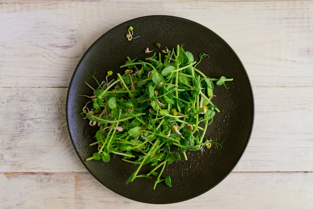Top view of vegan healthy salad made of peas microgreen sprouts and sprouted beans on wooden wall