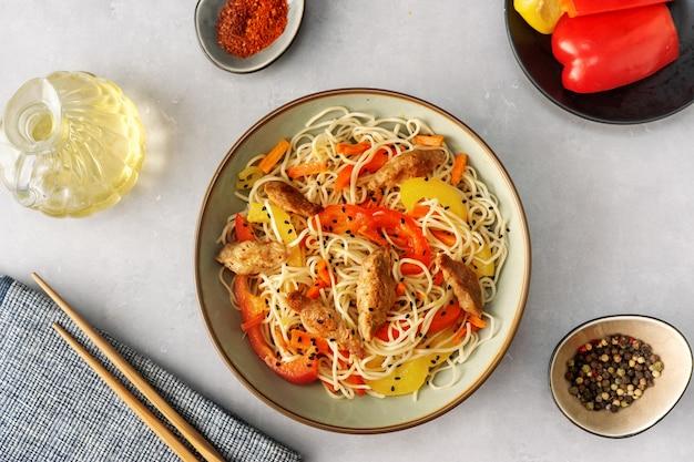 Top view of vegan noodels dish
