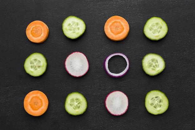Top view of vegetable arrangement