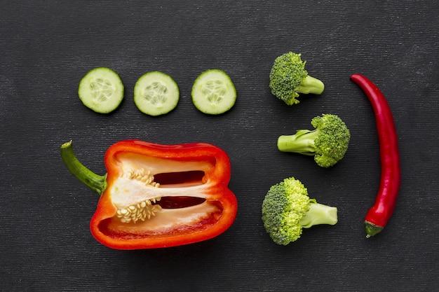 Top view of vegetable concept arrangement