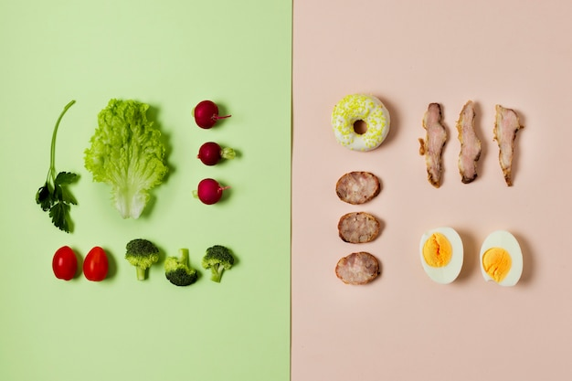 Top view vegetable and meat arrangement