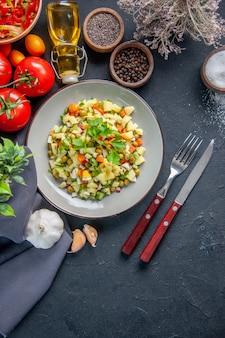어두운 배경에 빨간 토마토와 조미료를 곁들인 상위 뷰 야채 샐러드 다이어트 수평 색상 식사 빵 음식 요리 건강