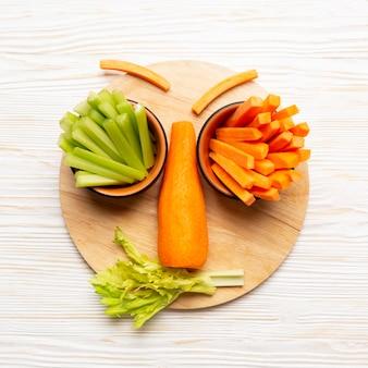 Расположение овощей сверху