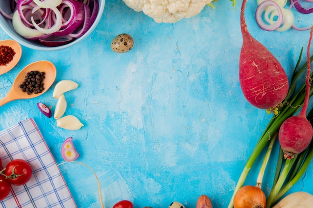 Top view of vegetables as onion garlic radish and others with spices and egg on blue background with copy space