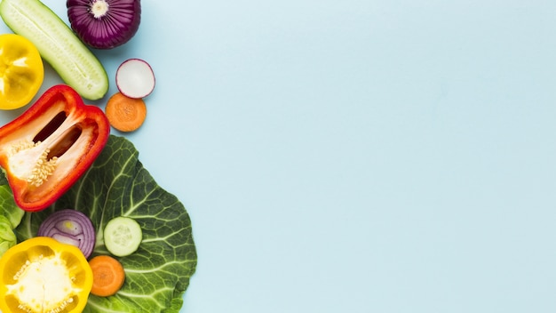 Top view of vegetables concept with copy space