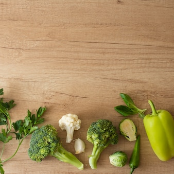 Top view vegetables on table with copy space