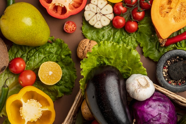 Top view of vegetables with eggplant and bell pepper