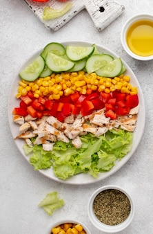 Top view veggie salad with chicken, herbs and oil