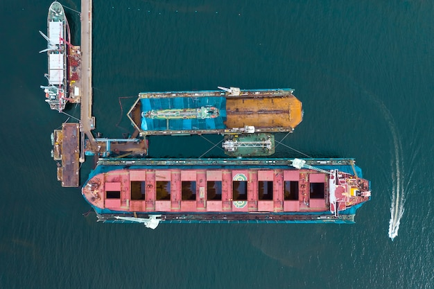 Top view of vessel repairing port, heavy industry shipyard
