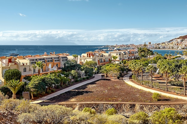 Top view of the villas on canary island