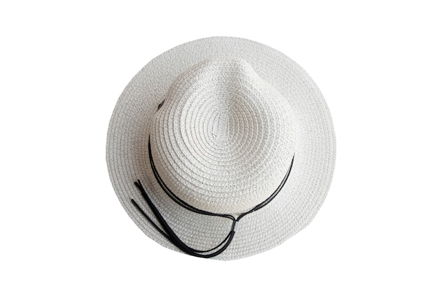 Top view vintage pretty straw hat isolated on white