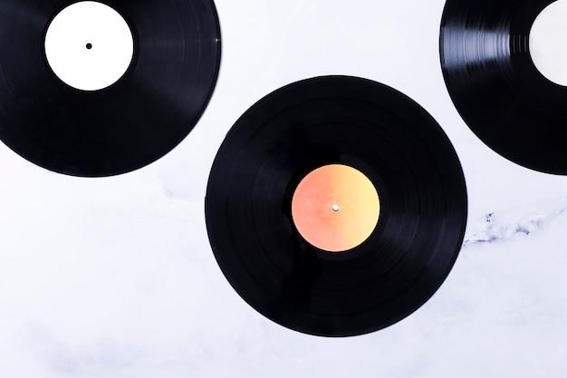 Top view of vinyl disks