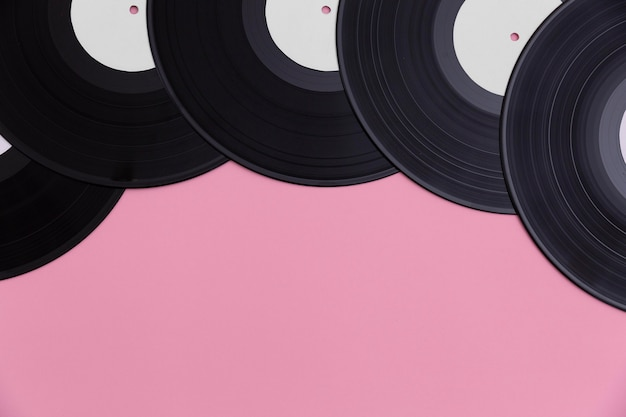 Top view vinyl record composition