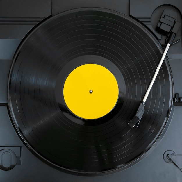 Top view vinyl record disk playing