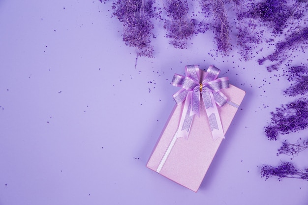 Top view violet gift box