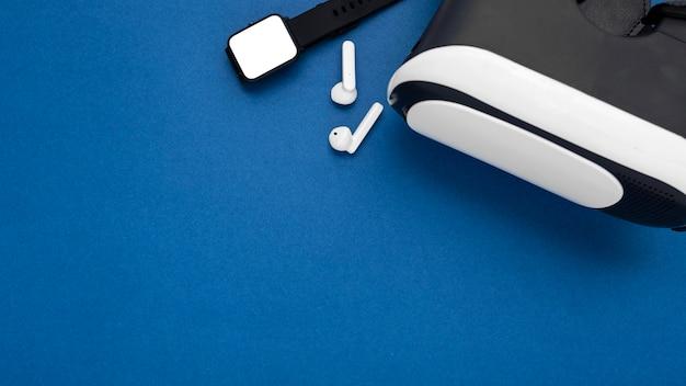 Top view vr glasses and earphones arrangement