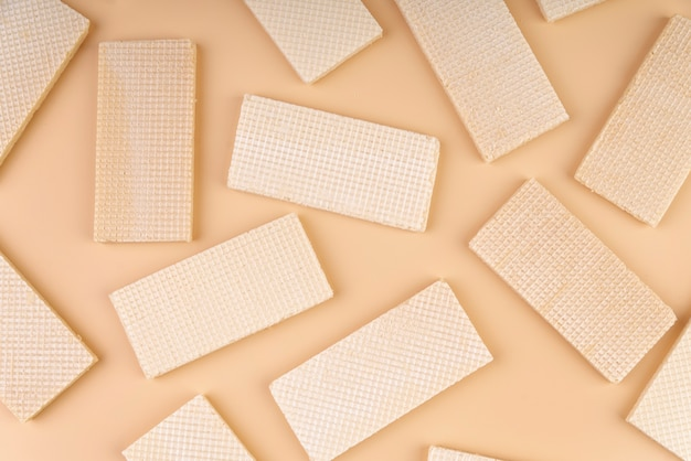 Top view of wafers on simple background
