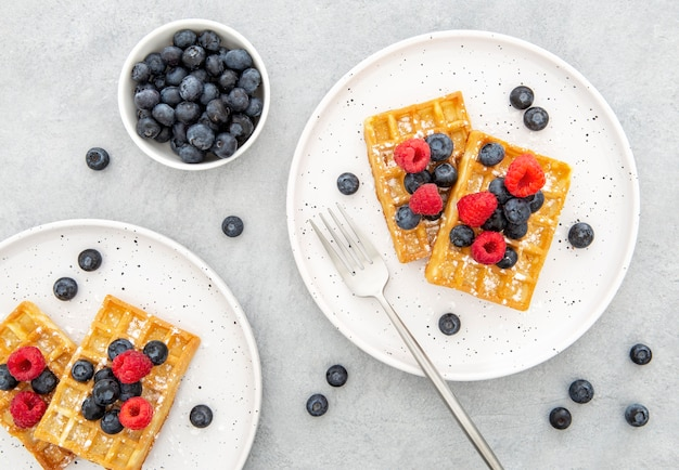 Top view waffle with berries