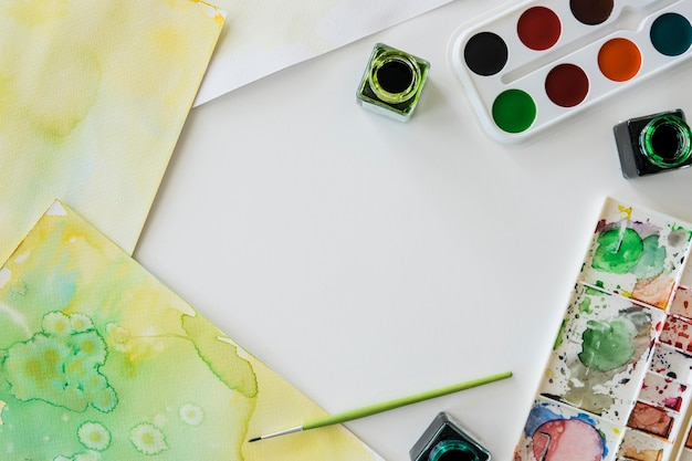Top view of watercolor painting with copy space