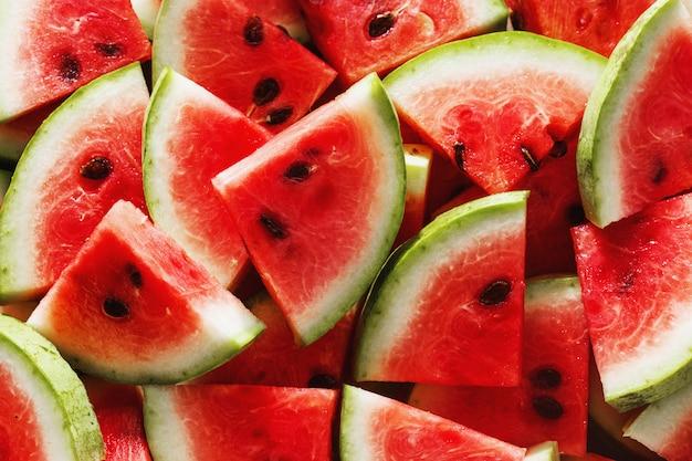 Top view watermelon slice stone blue  flat lay