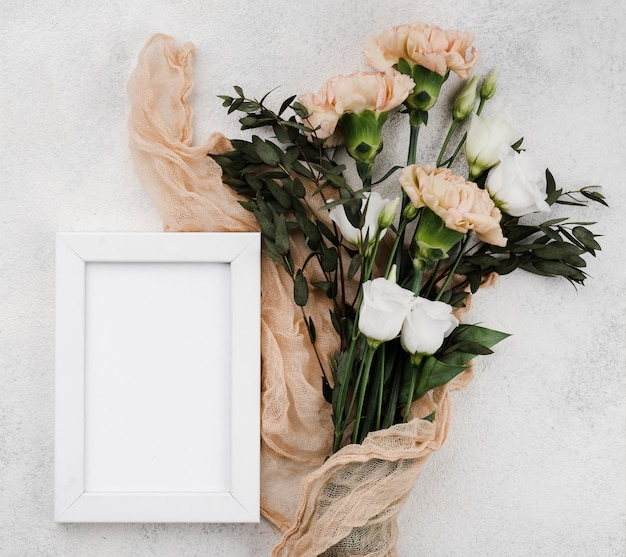 Top view wedding flowers with frame