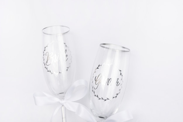 Top view wedding glasses with white background