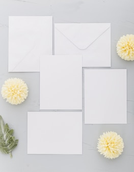 Top view of wedding invitation with copy space
