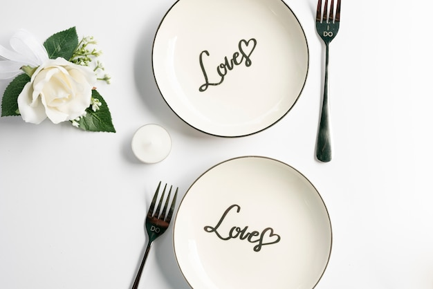 Top view wedding plates with white background