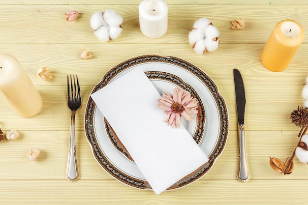 Top view of a wedding table setting with decorations