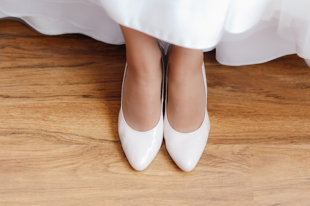 Top view wedding white shoes