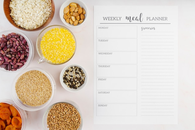 Top view of weekly meal planner