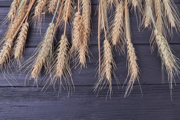 Колоски пшеницы на темном деревянном фоне