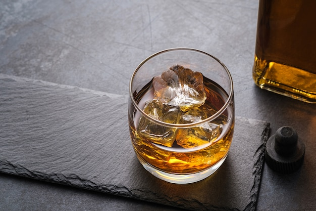Top view whiskey glass with cubes