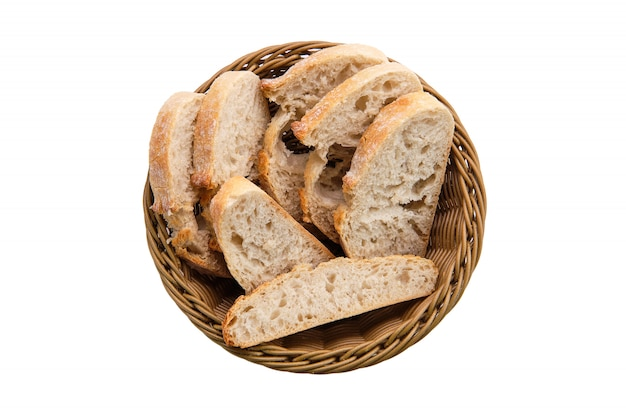 Top view of white bread in basket isolated on white