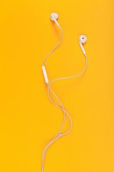 Top view of white earphones