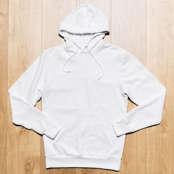 Top view white hoodie
