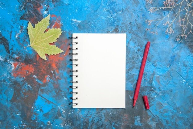 Vista dall'alto di taccuino bianco e penna con foglie
