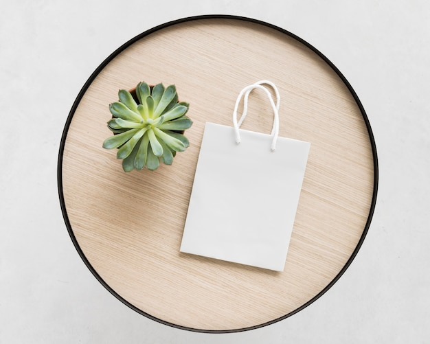 Top view white paper bag and plant