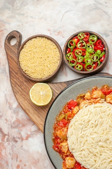Top view of white plain rice meal with chicken