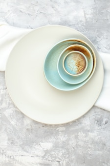 Top view white plate on light background kitchen food colour meal horizontal glass femininity