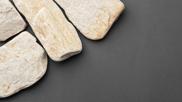 복사 공간 상위 뷰 흰 돌 컬렉션