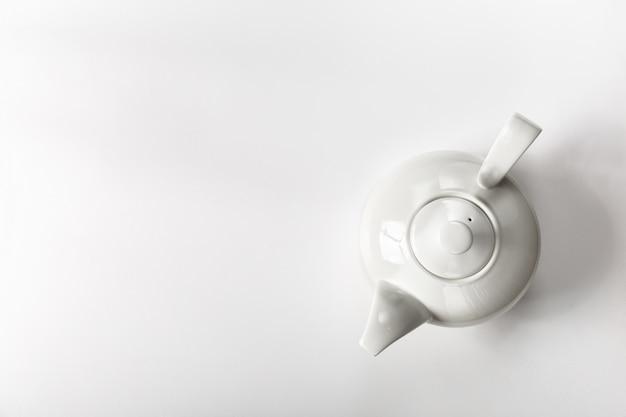 Top view of white teapot