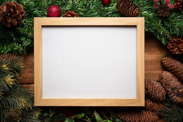 Top view whiteboard with christmas decoration