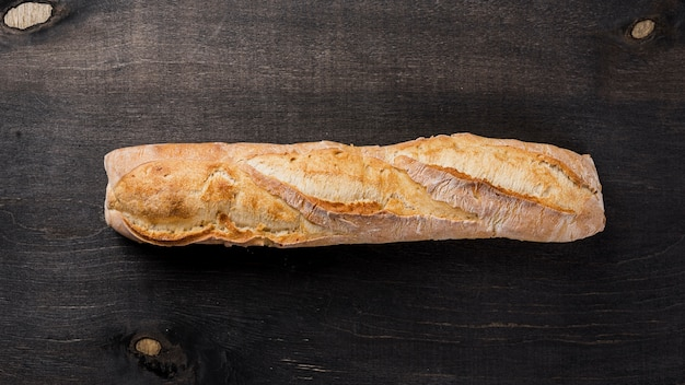 Top view whole baguette french bread