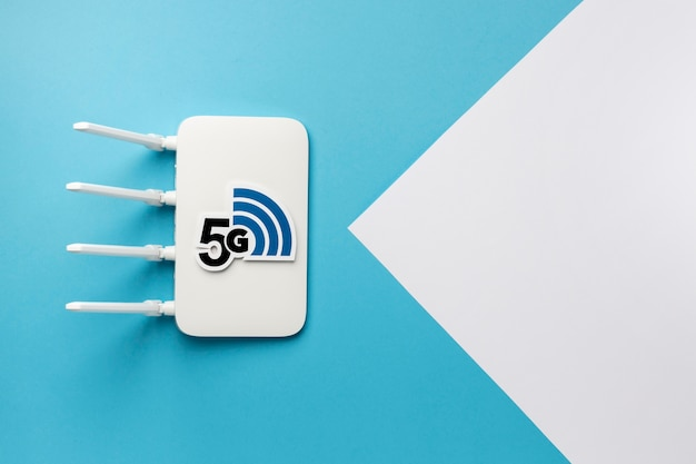 Top view of wi-fi router with 5g speed and copy space