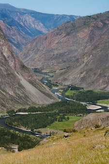 Top view of the winding chulyshman river in altai.
