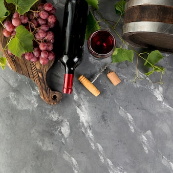 Top view wine bottle on marble background