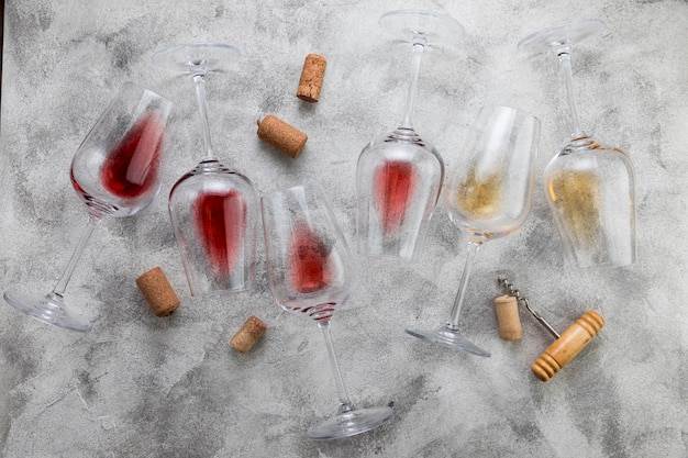 Top view wine glasses on marble background