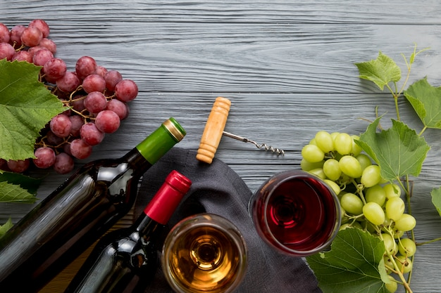 Top view wine with bunch of grapes