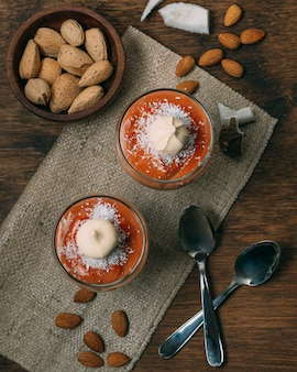 Top view winter dessert with almonds